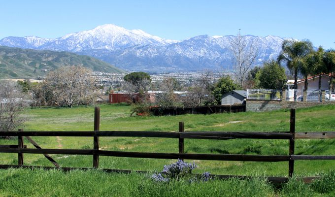 San Bernardino Mountain Range from across the Yucaipa Valley